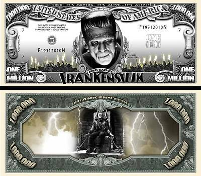 Frankenstein Million Dollar Bill **Novelty Money** FREE Sleeve