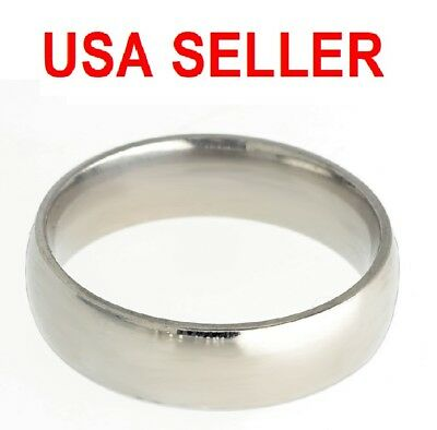 NWT Stainless Steel Comfort Fit 6mm Size 13 Wedding Band Ring Mirror Finish Prom