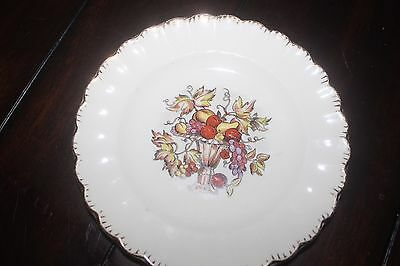 "Sebring Pottery Co USA 6 1/4"" plate 22 K Gold trim fruit Della Robbia 1 K GFE"