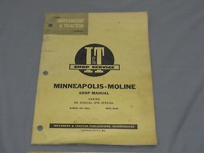 Minneapolis Moline UB Special UTS Special Tractor Shop Service Technical Manual