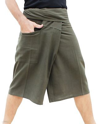 3/4 Cotton Fisherman Pants Casual Every Day Quality Dark Army Green sz XL