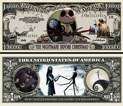 Nightmare Before Christmas Million Dollar Bill **Novelty Money** FREE Sleeve