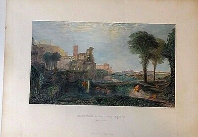 ANTIQUE HAND COLORED ENGRAVING of CALIGULA'S ROMAN PALACE!!!