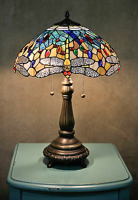 """Tiffany Style Stained Glass Yellow Dragonfly Table Lamp 16"""" Shade Handcrafted"""