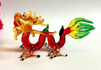 RED Dragon HAND BLOWN GLASS ART MINIATURE ANIMAL FIGURINE COLLECTIBLE DECOR