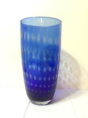 """Cobalt Blue Glass Round Vase With Bubble Pattern - 11"""" Tall x 5 1/2"""" Wide"""