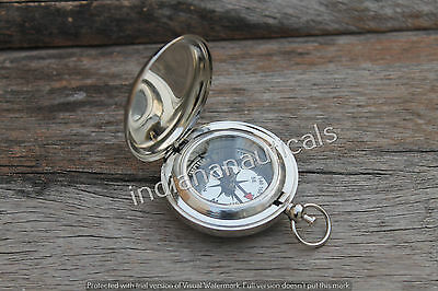 """2"""" Vintage Brass Nickel Push Button Compass Royal Navy Pocket Compass Gift Item."""