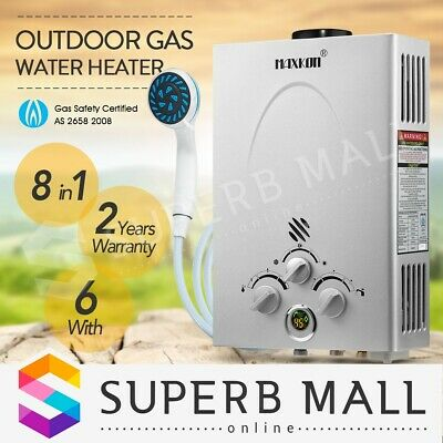 Portable 8 in 1 Gas Hot Water Heater Shower Camping LPG Outdoor Instant