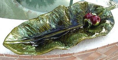 "Vintage WADE OF CALIFORNIA Art Pottery 20"" Green Leaf Tray w/ Fruit - Drip Glaze"