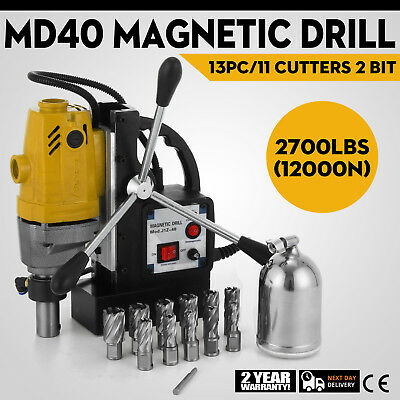 MD40 Magnetic Drill Press 13PC Cutter Kit Pinion Gear Electromagnetic 1100W