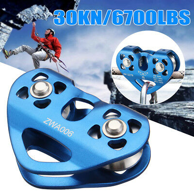 Zip Line Cable Trolley Climbing Double Axis Dual Pulley Military Blue 30KN/ 6700