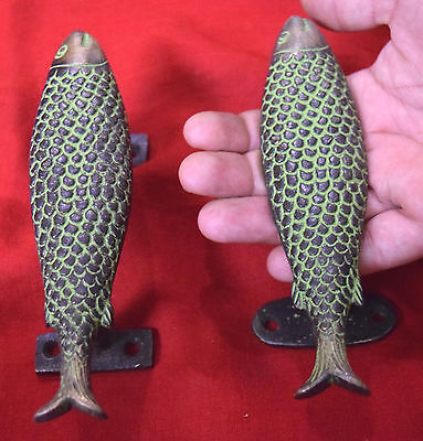 Nauticle Style Fish Shape Brass Door Handle Green Fish Fancy Door Pulls BM-435