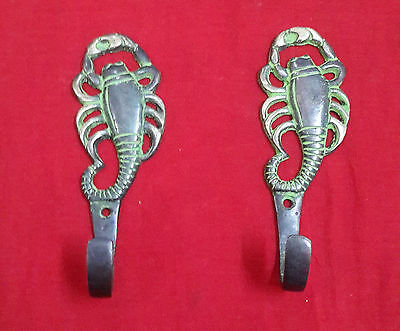 Pair of Scorpion Key Holder Brass Wall Mount Towel Stand Kitchen Bathroom BM-386