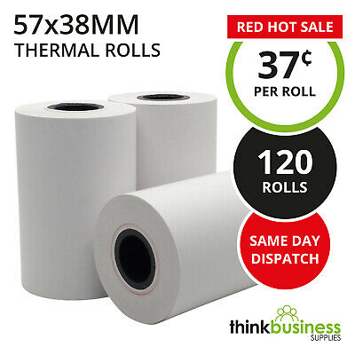 120 x Thermal 57x38mm Premium EFTPOS Receipt Paper Rolls for Cash Registers