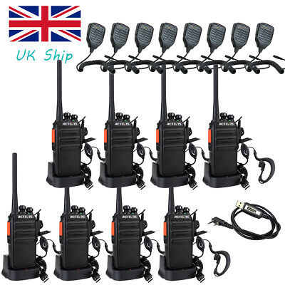 8x Mobile Walkie Talkie PMR446 Radios Retevis RT24 0.5W 16CH VOX TOT+8xMic+Cable