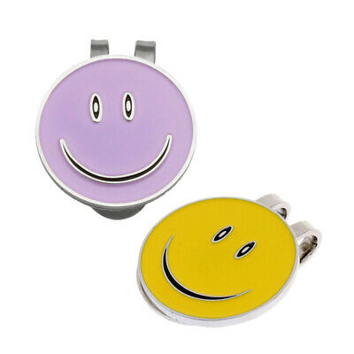 2Pcs Alloy Smile Face Golf Ball Marker with Magnetic Hat Clip Golfer Gift