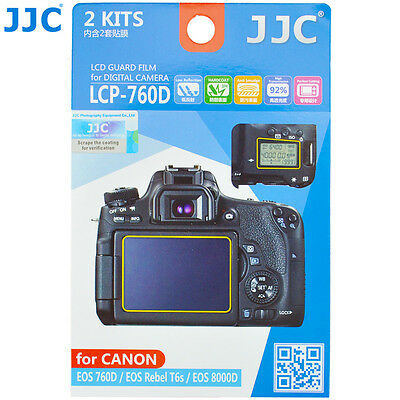 JJC 2x LCD Guard Screen Protector Film for Canon EOS 760D Rebel T6s 8000D Camera