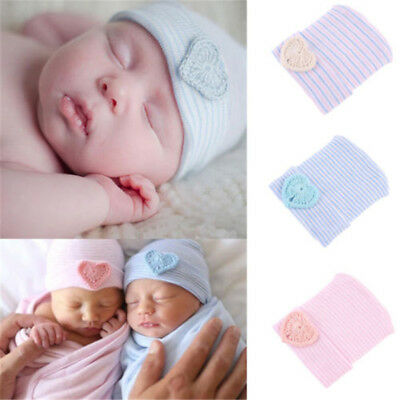 Newborn Baby Infant Girl Boy Toddler Comfy Bowknot Hospital Cap Soft Beanie Hat
