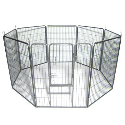 Dog Pet Playpen Heavy Duty Metal Exercise Fence Hammigrid 8 Panel Silver-NEW