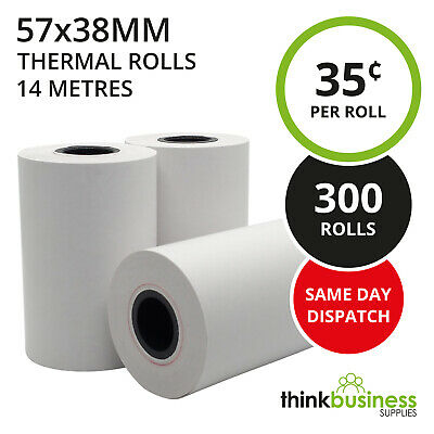 300 x Thermal 57x38mm Premium EFTPOS Receipt Paper Rolls for Cash Registers