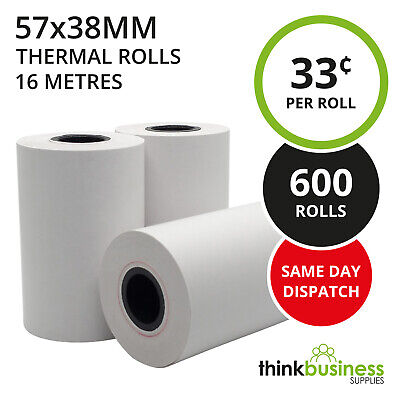 600 x Premium 57x38mm Thermal Paper EFTPOS Rolls for Cash Register Receipts