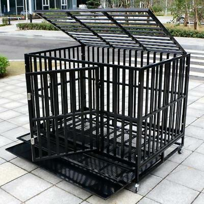 37''/42''/48'' Heavy Duty Dog Cage Large Crate Square Tube Pet Kennel W/Tray