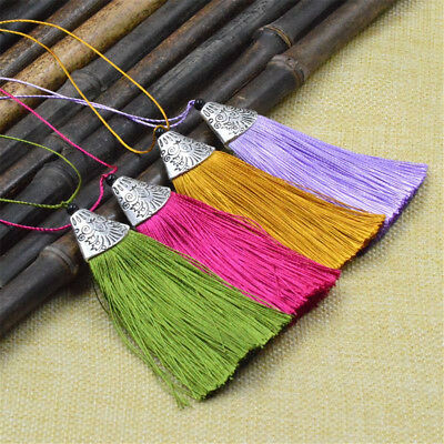 26 Colors 10 pcs/lot 8CM Satin Tassels Charms Pendant For DIY Jewelry Making