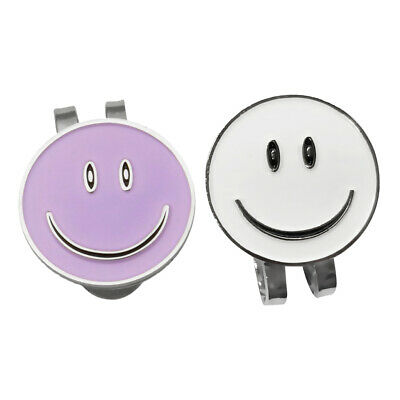 2pcs Alloy Happy Face Golf Ball Marker and Magnetic Hat Clip Golfer Gift NEW