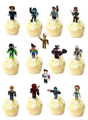14 ROBLOX premium STAND UPS wafer edible cup/cake toppers party PRE - CUT
