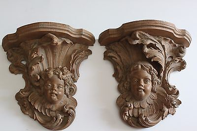 Pair Of Large Decorative Louise XVI Style Terra Cotta Angels Figurines Corbel