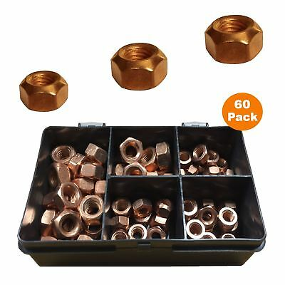 60 x Copper Flashed Exhaust Inlet Manifold Stud Nuts M8 x 1.25 & M10 x 1.5 Pitch