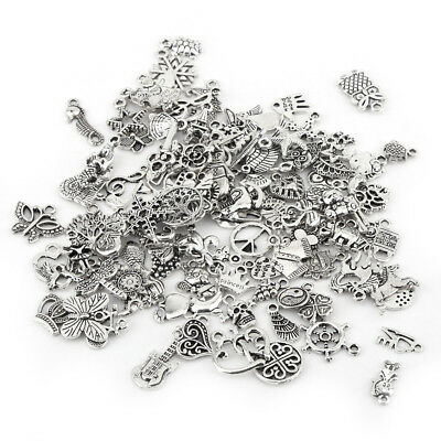 Wholesale 100pcs Bulk Mixed Silver Charms Pendants for DIY Jewelry Making
