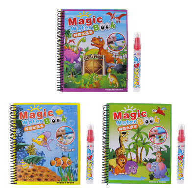 Children Magic Water Drawing Book Pen Animal World Painting Paper Coloring Book