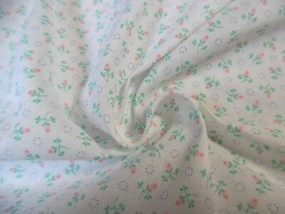 """1970's LIGHT WEIGHT COTTON~TINY PINK ROSE BUD PRINT~9""""x44""""~DOLL CLOTHES"""