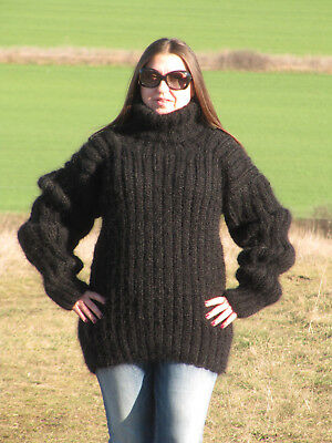 MOHAIR Hand Knitted Sweater BLACK Ribbed Fluffy Fuzzy Pullover Unisex Handmade