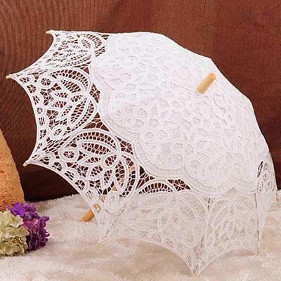 Lace Bridal Girls Parasol Wedding Party Sun Umbrella Wooden Craft Beige