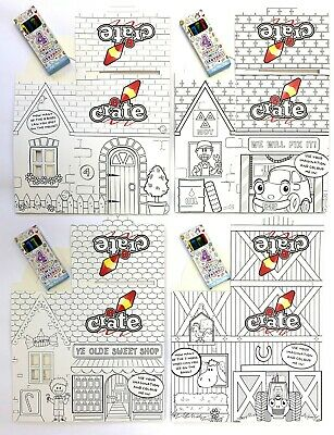 Create Cardboard Meal Lunch Box Catering Birthday Party Bag + Colouring Crayons