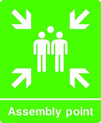 Assembly Point Self Adhesive / Rigid Sign 300mm x 250mm