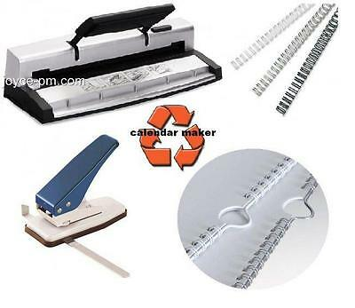 Calendar Binding Kit includes Wire Binder Thumb Cut Punch White Wire and Hangers