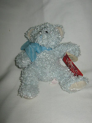RUSS Handmade Blue Curly Bear with Bow Bubbles Machine Washable