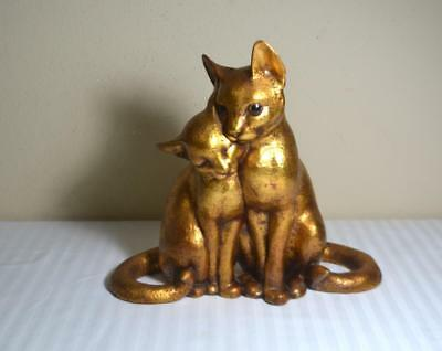 Vtg Freeman McFarlin CA Pottery Pair of Cats Gold Leaf Figurine Signed Anthony