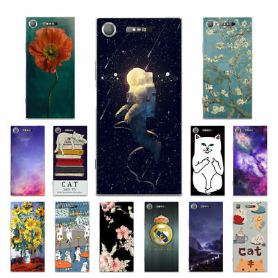 "5.2"" Soft TPU Silicone Case For Sony Xperia XZ1 Phone Back Cover Skins Cats"