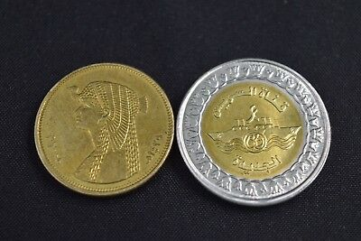 New Suez Canal One Pound 2015 Egypt Coins + 50 Piasters Coin Cleopatra Version