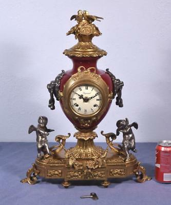 *Large Vintage French Brass/Bronze Clock with FHS Works and Lions