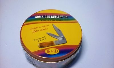 S & D - Son and Dad Cutlery Co. Two Blade Pocket Knife. In round collectors tin.
