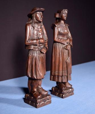"*14"" Pair of French Antique Hand Carved Breton Chestnut Figures"