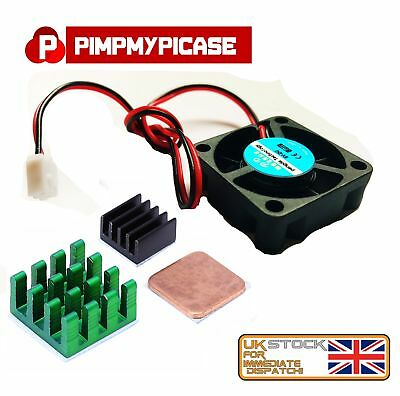 5v Cooling Fan with Black Green and copper Heat Sink for Raspberry pi 3