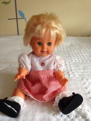 """Vintage 1989 IDEAL BETSY WETSY BABY DOLL 16"""" With Blue Sleep Eyes"""