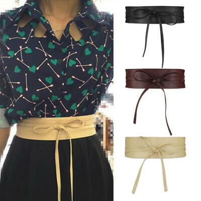 Womens Soft PU Leather Self Tie Bow Wrap Around Waist Band Cinch Boho Obi Belt