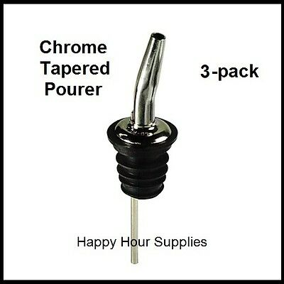 3-pack Chrome Metal Tapered Pourer / Liquor Bottle Pour Spout